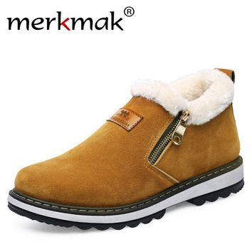 Merkmak Men's Fur-Lined Leather Snow Ankle Boots