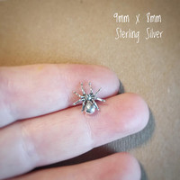 3D Spider Orb Weaver in Sterling Silver Pick Your Steel Post Earring or Hat Pin. Perfect for Helix, Lobe, Cartilage, Labret Piercings