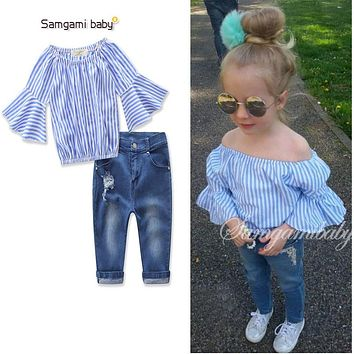 Fashion Girl's clothes set baby girl clothing sets striped slit neckline half sleeve top shirts blouse+ jeans