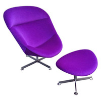 Beautiful Lounge Chair with Ottoman, in Rare Purple Mohair Fabric, 1970