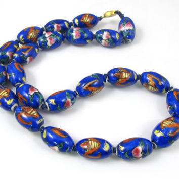 Chinese Porcelain Bead Necklace, Olive Shaped Cobalt Blue Hand Knotted Porcelain Beads, Handpainted Flying Bats, Chinese Export Jewelry