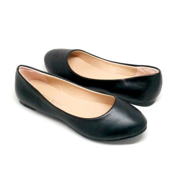 Black Vegan Leather Flats
