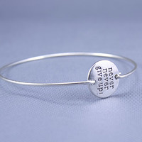 Never Give Up Silver Bracelet ,constellation Charm Bangle,Silver Jewelry ,Custom Gift for Women
