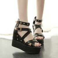 Womens Edgy Buckle Strap Platform Wedges