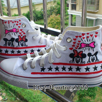 Disney mickey shoes, hand-painted shoes, Mickey Mouse shoes, custom converse shoes, Birthday gifts