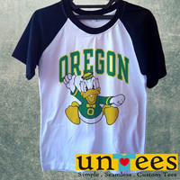 Men's Short Sleeve Raglan Baseball T-shirt - University of Oregon Ducks NCAA Logo design