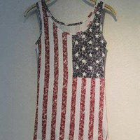 Fade Color Style Vest with USA Stars and the Stripes Flag GF
