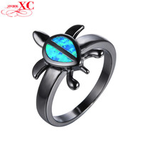 Water Drop Blue Fire Opal Animal Rings for Women Men Halloween Turtle Jewelry Vintage Black Gold Filled CZ Wedding Ring RB0701