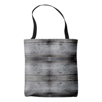 Personalized Dark Wood Tote Bag