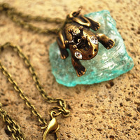 Frog Prince Necklace, Antique Bronze Frog Necklace, Princess and the Frog Necklace, Princess Tiana Necklace
