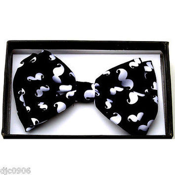 Black & White Mustaches Adjustable Bow tie Bowtie-Colored Mustache Bow Tie-New!