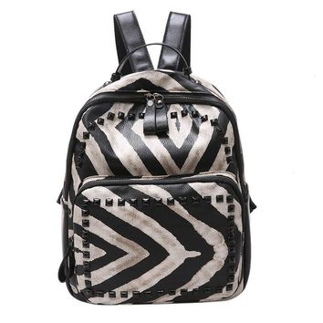zebra strips women fashion backpack Japanese and south Korean style rivet leisure bag for teenage girls Fresh cute school bag