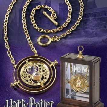 Harry Potter Time Turner Gold Hourglass Hermione Rotating Pendant Necklace Gift