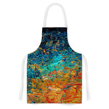 "Ebi Emporium ""Eternal Tide II"" Teal Orange Artistic Apron"