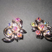 Vintage Floral AB rhinestones Earrings