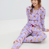 Chelsea Peers Taco Cat Long Pyjama Set at asos.com