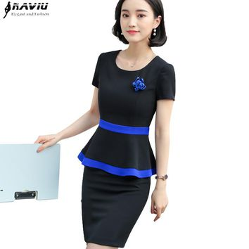 New Elegant women skirt suit summer elegant formal ruffles hem short sleeve blazer and skirt office ladies plus size uniforms