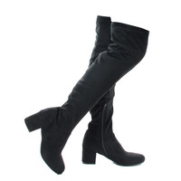 autumn04s Black By Bamboo, Faux Suede Over Knee OTK Pull On High Block Heel Boots