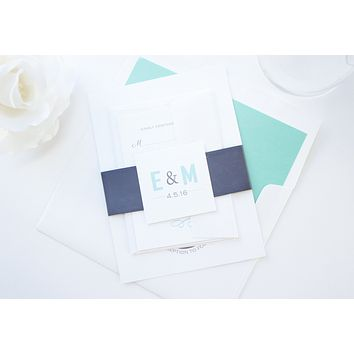 Modern Mint and Charcoal Wedding Invitation - DEPOSIT