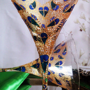 Set of 2 hand painted martini  glasses Lace heart Peacock feathers in blue, turquoise and gold color.
