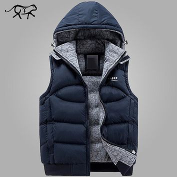 New Mens Jacket Sleeveless vest home Winter Fashion Casual Coats Male Hooded
