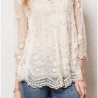 Cream Coloured Double Layer Floral Print Lace Blouse