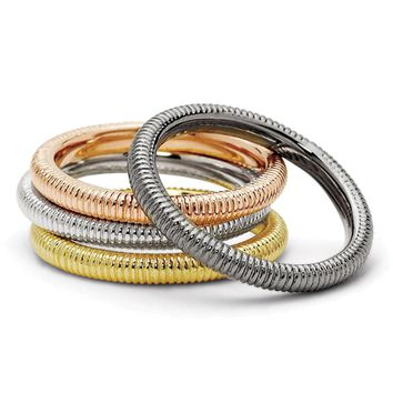 Sterling Silver, Black & 14K Gold Plated Stackable Textured Ring Set
