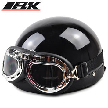 2016 Half Motorcycle Helmets outdoor sport man and woman black Motorcycle Racing Helmet + motocross Goggles