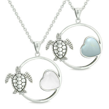Amulets Cute Sea Turtles Love Couples or Best Friends White Cats Eye Simulated Opalite Pendant Necklaces
