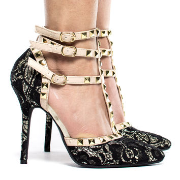 Adora55 Gladiator D'Orsay Multi Metal Stud Ankle Strap Stiletto Heel Pump
