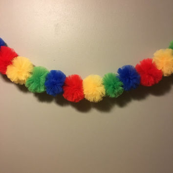 Tulle Pom Pom Garland- Primary Color Garland, Primary Color Party, Circus Party, Lego Party, Sesame Street Party, Party Garland,