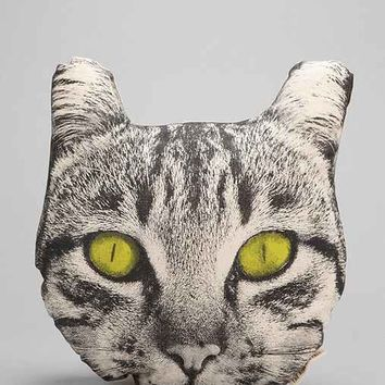 The Rise And Fall Cat Face Pillow- Black & White One