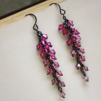 Ombre Pink Swarovski Crystal Cluster Earrings Cascading Rose