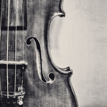 Old Violin Fine Art Photography Violin Musical Instrument Photo Print Classical  Music Room Wall Decor Music Lover Gift Black and White