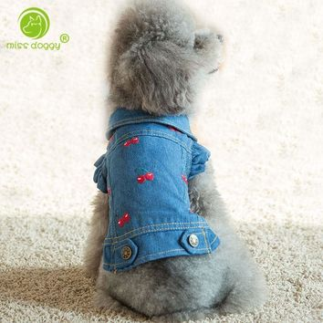 New Jean Puppy Denim Personalized Pet Cat Jeans Shirt Coat Dog Jacket Clothing Dog Clothes for Teddy Poodle Chihuahua Puppy Dogs