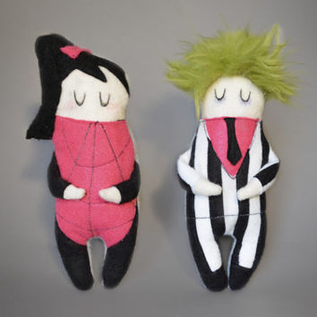 Set of Two - BFF Beetlejuice and Lydia - Tim Burton Inspired Plush Doll - Cute Horror Plushies - Halloween Collectables - Halloween Sale