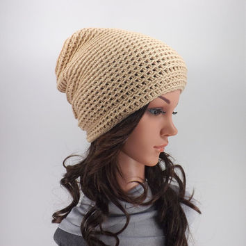 SALE Cotton Summer Slouchy Hat /TAUPE/, Unisex Lightweight Slouchy Beanie, Gift Idea