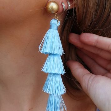 Falling In Love Earrings: Powder Blue