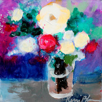 "Small Still Life Acrylic Painting, Abstract Floral, Roses, Flowers, Colorful, ""Colorful Summer Blooms"""