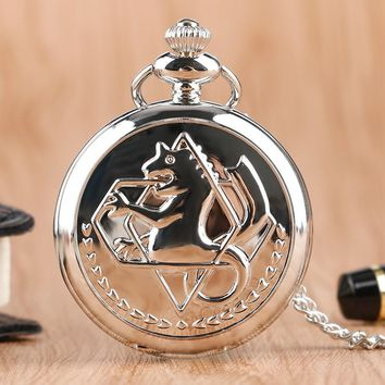 High Quality Full Metal Alchemist Silver Watch Pendant Men's Quartz Pocket Watches Japan Anime Necklace Children Boy Gift