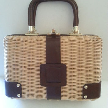 Vintage Wicker Handbag, 1950's 1960's Collectible Purse, Hand Made In British Hong Kong, Retro Rockabilly Bag