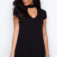 No Regrets Choker Dress - Black