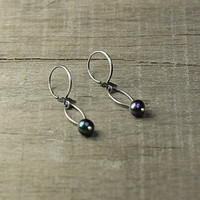 Elegant Pearl Earrings, Navy Pearls Earring, Freshwater Pearl Jewelry, Dangle Pearls Earrings, Wife Gift, Love Gift, Anniversary Gift
