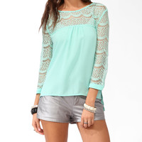 High-Low Lace Trimmed Top