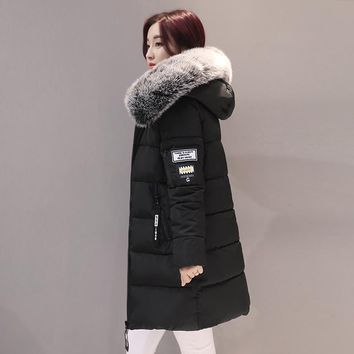 Thick Warm Winter Jacket Women Slim Fashion Letter Ladies Parkas Hooded With Big Fur Collar Plus Size M-3XL Cotton Coat