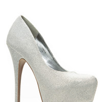 Mascotte Silver Shimmer Almond Toe Pumps