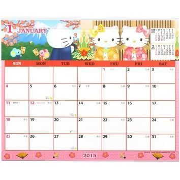 2015 Hello Kitty Desk Calendar Plan Simple-Type Pink Sanrio Japan H6023