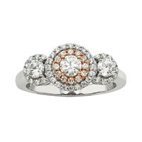 The HALO Collection Round-Cut Diamond Engagement Ring in 10k White & Rose Gold (1 ct. T.W.)