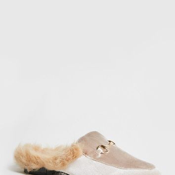Faux Fur Trim Loafer Slides