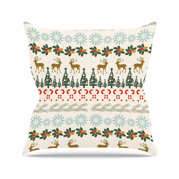 "Famenxt ""Christmas Vibes"" Holiday Pattern Outdoor Throw Pillow"